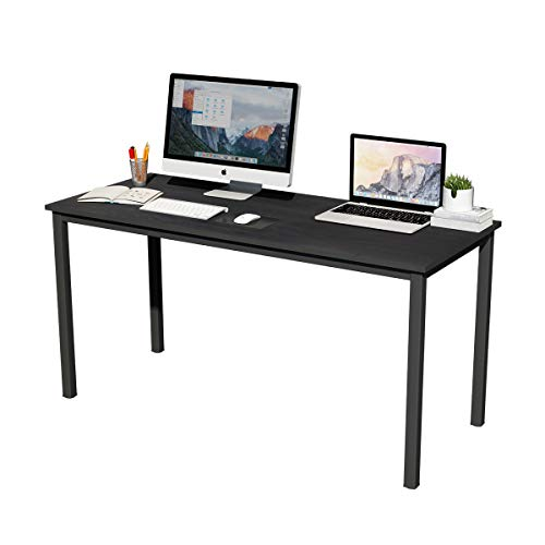 DlandHome 63 inches X-Large Computer Desk, Composite Wood Board, Decent and Steady Home Office Desk/Workstation/Table, BS1-160BB Black Walnut and Black Legs, 1 Pack