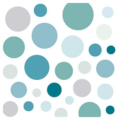 Little Deco Wandsticker 86 Punkte Kinderzimmer Junge Kreise | Mint grau blau | viele Farben Wandtattoo Klebepunkte Wandaufkleber Dots bunt DL390