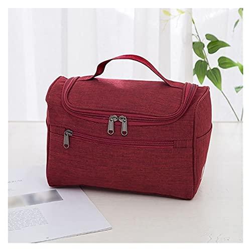 BHUYGV Bolsa De Maquillaje Impermeable Bolsa para Cosméticos Organizador De Artículos Tocador Bolsa De Almacenamiento De Viaje Bolsa De Baño para Kit Lavado (Color : Wine Red, Size : 25x14x15cm)