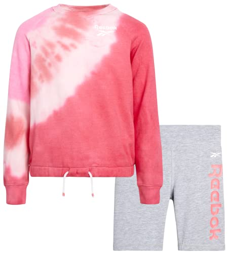 Reebok Girls' Active Shorts Set - 2 Piece Fleece Top and Bike Shorts (Size: S-XL), Size Medium, Powder Pink