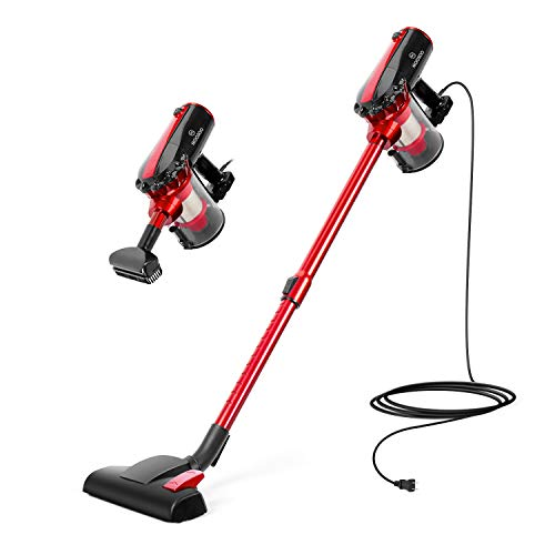 MOOSOO Vacuum Cleaner, 17KPa Strong Suction 4 in 1 Corded Stick Vacuum for Hard Floor with HEPA Filters, D600