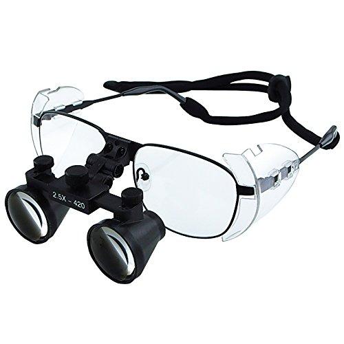 2.5 x aumentos lupas dentales, estilo Galileo Binocular, 100mm campo de visión + 90mm de profundidad de campo + trabajo de 420mm distancia, lupa de cristal óptico Flexible función Flip-Up