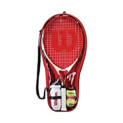25b8a0a699 Wilson Federer 25 Junior 2 Racket Tennis Set with Balls, Water Bottle, and  Bag