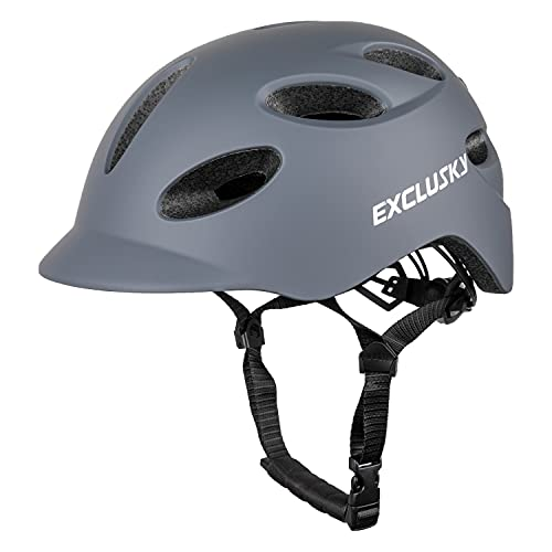 EXCLUSKY Adult Bike Scooter Helmet with Rechargeable USB Safety Light for Urban Commuter CE Certified (grey)