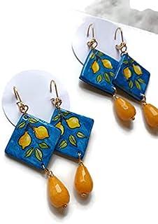 orecchini in ceramica, ceramica di caltagirone, orecchini siciliani, decoro vietrese, pietra goccia angelite, placcato or...