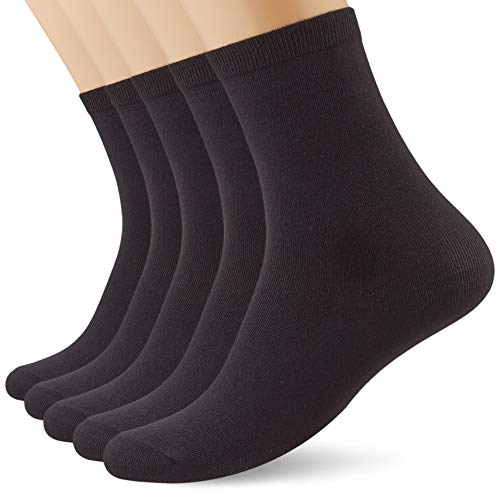 Marca Amazon - MERAKI Calcetines por Media Pierna de Algodón Mujer, Pack de 5, Negro (Black), 36-38 EU, Label: 3-5 UK