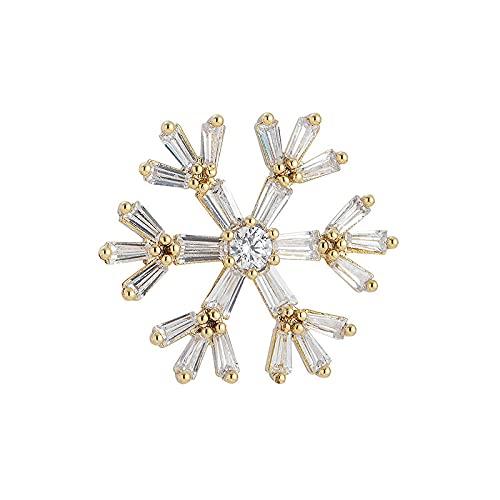 CHENLING S926 Plata Aguja Pendientes Micro-set Zircon Moda Copo de Nieve Navidad Copo de Nieve Oro