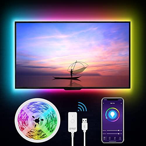 WiFi Tira Led TV, igosund Inteligente Luces LED 2,8M USB Control de APP, Funciona con Alexa/Google Home,16 Millones Colores,Sincronizar con Música, Retroiluminación LED RGB PC Monitor (40-60 Pulgada)