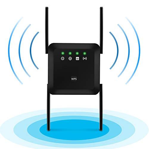 Agedate Amplificador WLAN 1200 Mbps Dual Band (5G/867Mbps + 2.4G/300Mbps) Repetidor WiFi Extender 4 Antenas 360° Cobertura completa con AP / Repetidor Modo - Negro