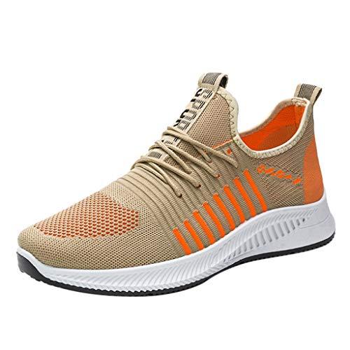 Zapatillas de Deporte Running para Mujer Zapatos para Correr Gimnasio Sneakers Casual Transpirable Naranja Rojo Blanco 36-44EU 0206