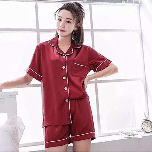 XUHRA pyjama voor de zomer, pyjama, satijn, voor vrouwen, korte mouwen, tweedelig, Pijama, zomer, nachtkleding, dames, pyjama, Plus maat M-5XL, 95 kg