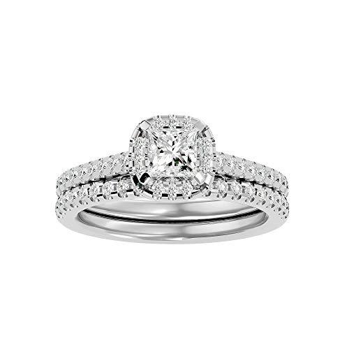 Anillo de oro de 14 quilates certificado en diamante de moissanita de talla princesa (0,57 qt) Diamante natural de corte redondo (0,3 qt) con anillo de compromiso doble de oro blanco/amarillo/rosa