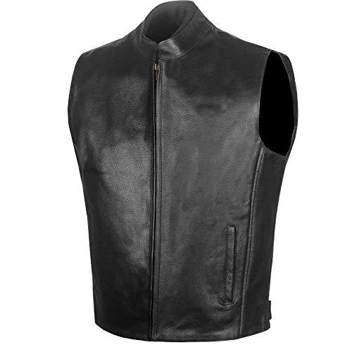 Men's Premium Single Back Panel Leather Biker Vest w/Concealed Carry Pockets