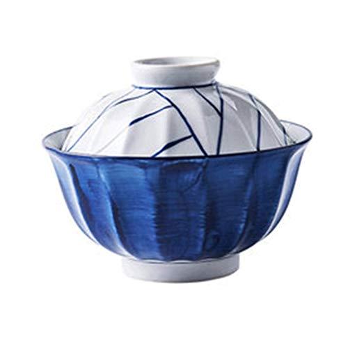 SCDMY Schüssel, Stil Große Keramikschale mit Deckel und for Suppe Reisnudeln und Haferbrei, Mikrowelle Sicherheit