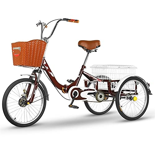 zyy Adult Trike 1 Speed 3 Wheel Three Wheel Cruiser Bike 20 Inch Foldable Tricycle ith Basket for Adults Adjustable Seat and Handlebar for Outdoor Sports Color Red