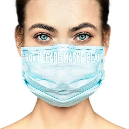 DECADE® 50x Einweg Masken Gesichtsmasken Vlies Einwegmasken Mundschutz Staubschutz mit Ohrschlaufen Farbe Blau MNS Atemmaske Atemschutzmaske 3lagige Maske MNS