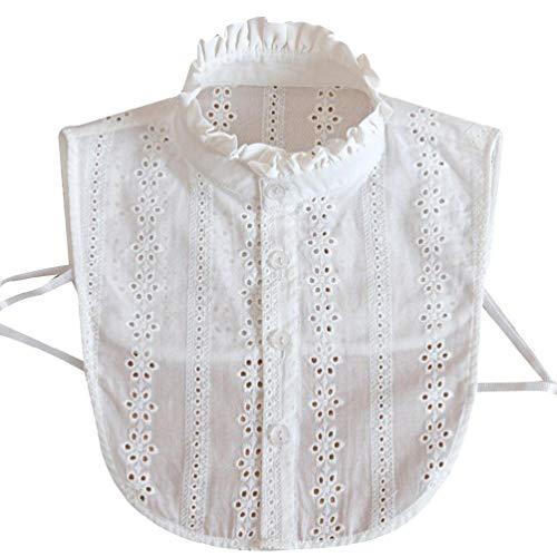 Fugift Collar de encaje para mujer, color puro, desmontable, con solapa, collar, camisa, falso cuello, blusa, sudadera, chaleco, accesorios
