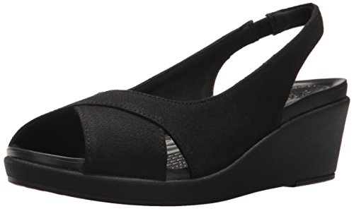 crocs - Damen Leigh Ann Slingback Wedges, 35, Black/Black