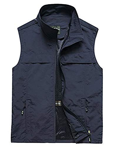 Yimoon Men's Safari Travel Vest Outdoor Lightweight Fishing Photo Vest (02 Navy, XLarge)