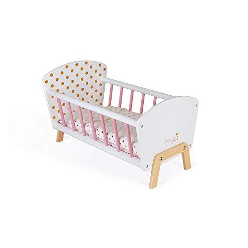 Janod - Cama Candy Chic - Cama de madera para bebés con colchón + manta + almohada - Colores suaves y brillantes - Accesorios para bebés - A partir de 3 años, J05889
