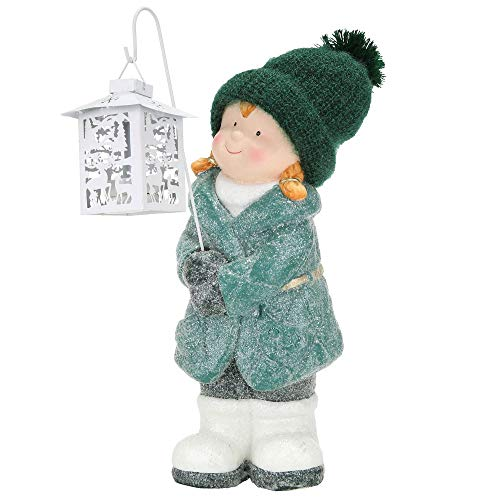 Gilde Dekofigur Winterkind Mädchen aus Magnesia mit weißer Laterne, 44x17,5x17cm, Grün, Weiß, 1 Stück