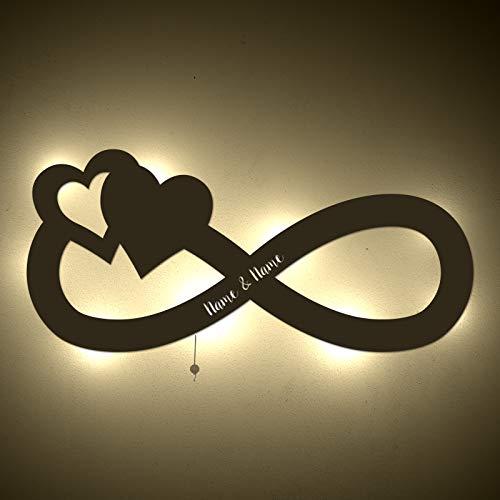 einstückchenliebe Personalisiertes Nachtlicht Unendlichkeitszeichen Schlummerlicht Valentinstag Hochzeit-stag Lampe Persönlich für Partner Pärchen romantische Geschenke Geschenk mit Name