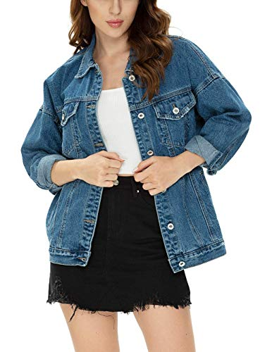 Women Oversize Vintage Classic Loose Jean Trucker Denim Jacket