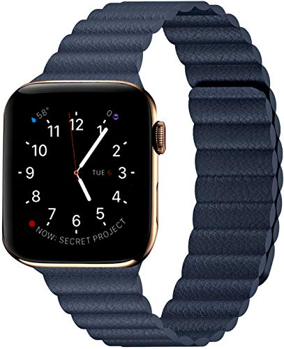Compatibile con Apple Watch cinturino magnetico in pelle, cinturino regolabile con chiusura magnetica per iWatch Series 6/5/4/3/2/1/SE e Acciaio inossidabile, colore: Blu notte, cod. Circoclve