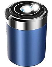 YANFEI Cenicero del Coche, for BMW con Tapa, con indicador LED Azul, Interior del Coche Multifuncional, cenicero portátil, portavasos Desmontable, con la Insignia del Coche, Negro, Rojo, Oro, Azul