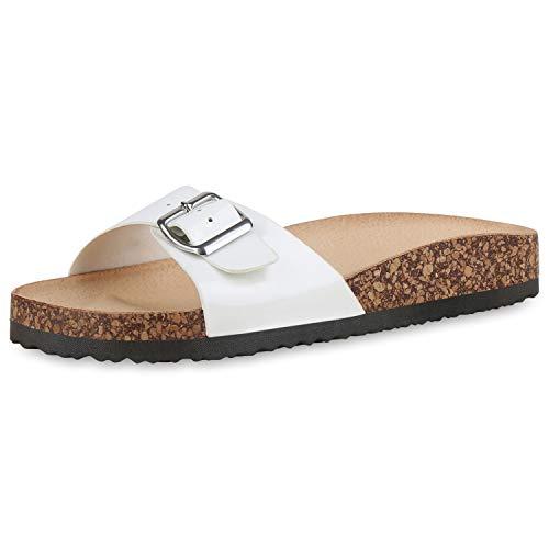 SCARPE VITA Damen Sandalen Pantoletten Lack Sommer Hausschuhe Schlappen Korkoptik Schuhe Bequeme Sommerschuhe 183346 Weiss White 39