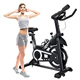 PTPEPL Exercise Bike Stationary 330 LBS Weight Capacity - Indoor Cycling Bike for Home Workout with Comfortable Seat Cushion, LCD Monitor and iPad Holder
