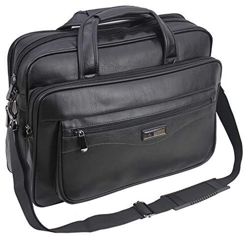 ARiANA Mens Black Laptop Bag Briefcase Messenger Work Office Shoulder Bag Faux Leather 15.6' Labtop - 624