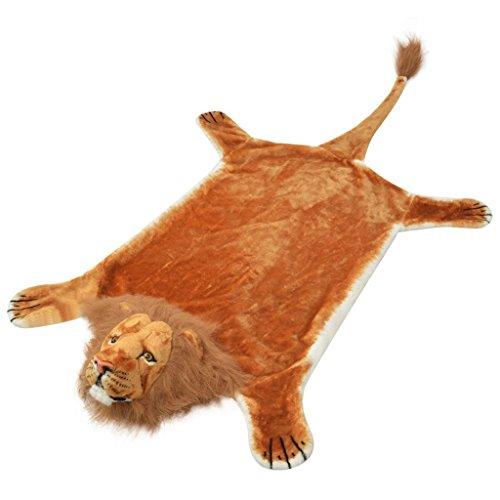 vidaXL Tapis en Peluche en Forme de Lion décoration de Maison 205 cm Marron