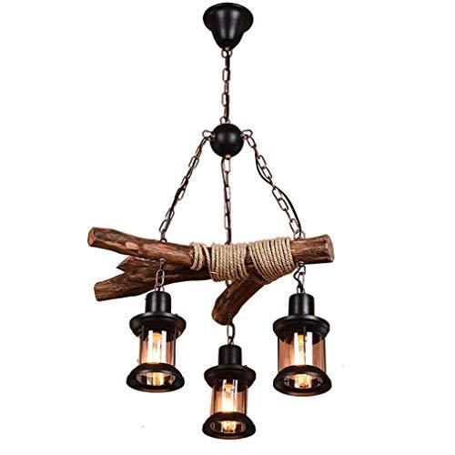 Rétro Industriel Suspension Luminaire De Table À Manger Lampe En Bois Loft Lustre Vintage Créatif Lumière pendante Pendante Lampe pour Salle À Manger lampa à suspension E27 3 Flames