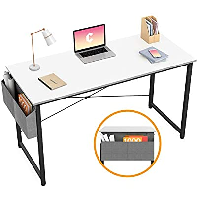 Cubiker Computer Desk Home Office Writing Study Desk, Modern Simple Style Laptop Table with Storage Bag, Black by Cubiker