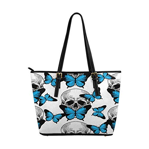 InterestPrint Fashion Women's PU Leather HandBags Ladies Shoulder Bags Tote Bags Skull and Beautiful Blue Butterfly