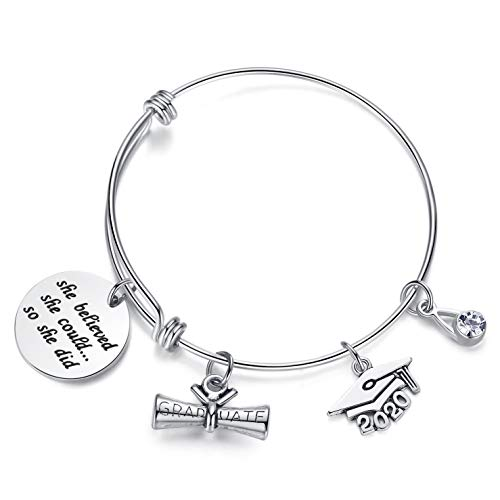 AZORA Graduation Gift Jewelry She Believed She Could So She Did Inspirational Bracelet with Graduate Diploma & Cap Charm Engraved Bangle for Teen Girls Women
