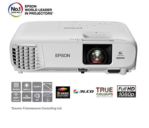 Epson EB-U05 3LCD, Full HD, 3400 Lumens, 300 Inch Display, Gaming & Home Cinema Projector - White