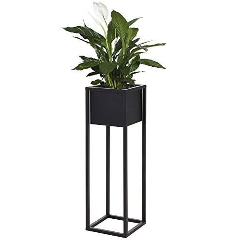 Blumenständer, Metall, 21x21xH70cm, Schwarz - Blumenkasten Pflanzenkasten Hochbeet Pflanzkasten