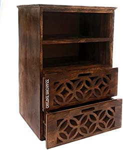 Onlineshoppee Solid Wood Bed Side Cabinet with 2 Drawer for Living Room | Light Walnut Finish