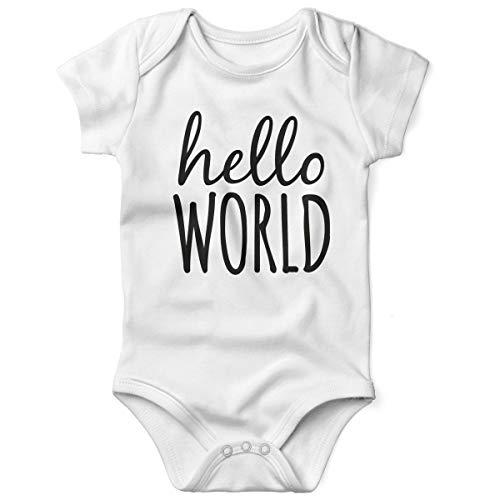 Mikalino Babybody mit Spruch für Jungen Mädchen Unisex Kurzarm Hello World | handbedruckt in Deutschland | Handmade with Love, Farbe:Weiss, Grösse:56