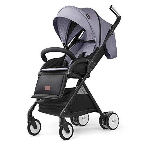 Yankuoo draagbaar 3-in-1 reissysteem, kinderzitje/ligstoel met vier wielen en ultralichte vouwwagen (0-4 jaar oud) Grijs