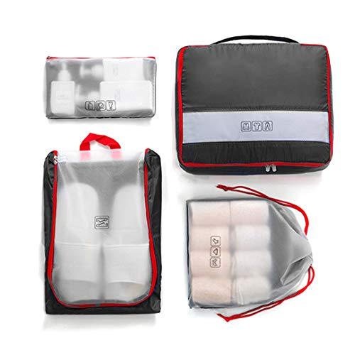SPAHER Pieghevole Organizer per valigie 4 set Imballaggi Cubi Bagagli Valigia Cubi con Compressione Borsa portaoggetti Organizer per bagagli con borsa per scarpe e borsa da toilette