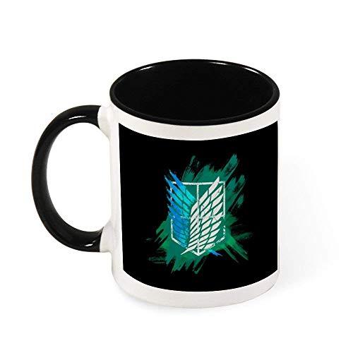 N\A Taza de cerámica Ataque En Titán Cuerpo Suvery Pintado Taza del Logotipo del té, Regalo para Las Mujeres, Las niñas, Esposa, mamá, Abuela, 11 oz