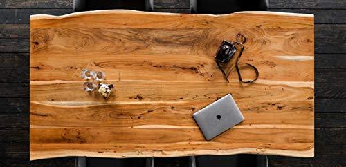 KAWOLA Essgruppe 9-Teilig mit Esstisch Baumkante nussbaumfarben Fuß schwarz 200x100cm und 8X Stuhl ZAJA Kunstleder schwarz