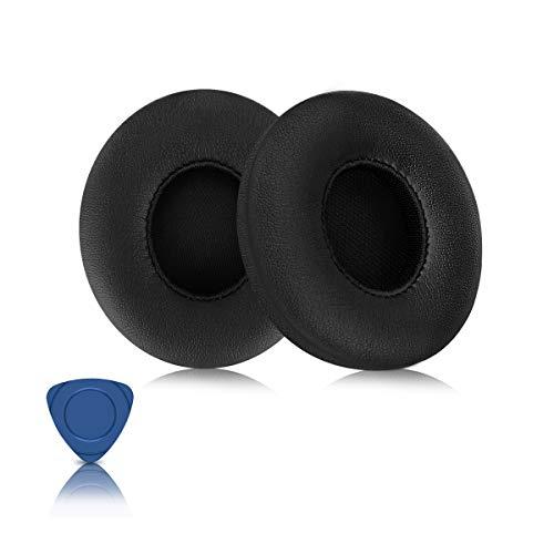ELZO Ersatz Ohrpolster für Beats Solo 2, Solo 2 Und Solo 3 Kopfhörer, Premium Kunstleder Kopfhörer Ohrpolster Ersatz Kit für Beats Headphones, Schwarz