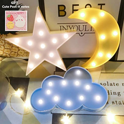 Decorative Night Lights for Kids,LED Crescent Moon Cloud Star Marquee Sign - Marquee Letters LED Lights for Kids Girls and Adults' Room Party Holiday Decorations(yellow moon-white star-blue cloud)