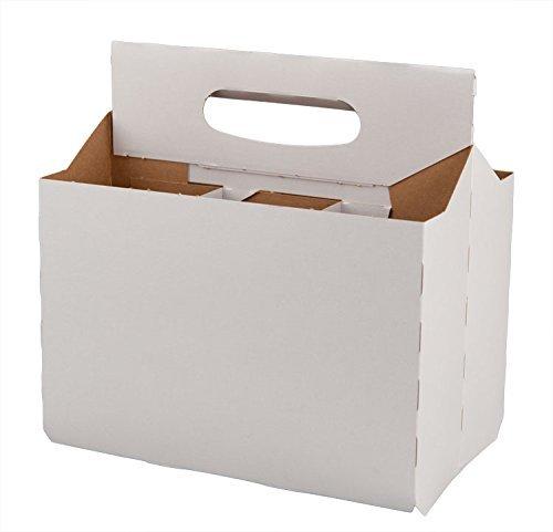 Six Pack Bottle White Cardboard Carrier Boxes for 12oz Beer or Soda Bottles (Pack of 12)