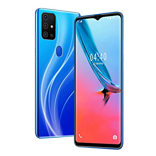 Face Unlock Smartphone,MTK6580P Quad-core 6.7' Metal Blue Drop Screen Fingerprint Mobile Phone,6+64G Dual Cards Dual Standby,800W Front 1300W 2 Rear Camera,4800mAh Battery,for Android 9.1(UK)