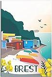 JRLDMD Poster & Kunstdrucke Vintage Reise Brest Poster